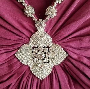 Sky Rhinestone Adorned Dress Mauve L NWT